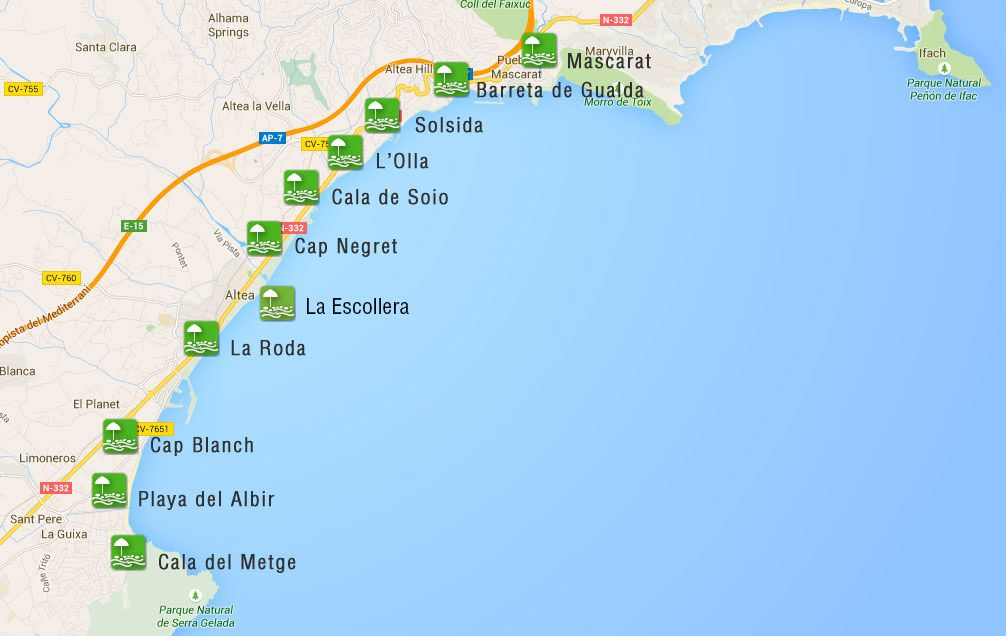 mapa de playas de altea