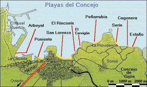 mapa de playas de gijon