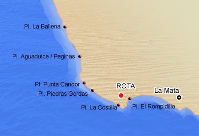 mapa de playas de rota