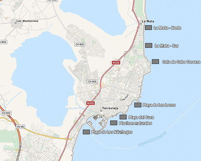 mapa de playas de torrevieja