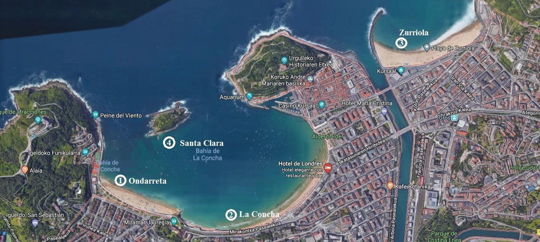 mapa playas de donostia